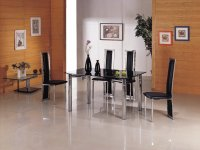 Michelle Glass Extending Dining Table - Black - Plus 6 x RD-601