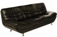 Carmen Leather Settee 3 Seater Black