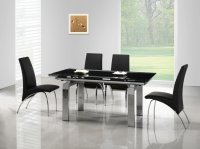 Madrid Glass Extending Dining Table - Black - Plus 6 x RD-525 Ch