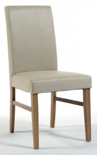 Cotswold Upholstered Chair In Ivory Faux Leather (Pair)