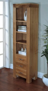 Santana Blonde Oak Bookcase Slim with 3 Drawers
