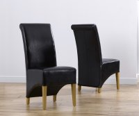 Brussels Oak Leather Dining Chairs (Pair)