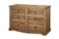 Corona Mexican Pine 3+3 Drawer Wide Chest