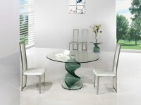 Twirl Glass Round Dining Table - Clear - Plus 4 x RD-601 Chairs