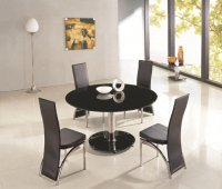 Montreal Glass Round Dining Table - Black - Plus 6 x RD-501 Chai