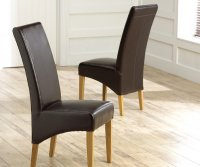 Roma Oak and Leather Dining Chair Brown (Pair)