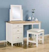 Alaska Painted Oak Dressing Table Stool and Mirror