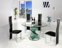 Twirl Glass Round Dining Table - Clear - Plus 4 x RD-650 Chairs