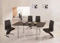 Michelle Glass Extending Dining Table - Black - Plus 6 x RD-501
