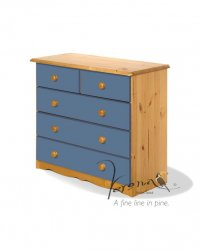 Verona Blue Pine Chest 3+2 Drawer