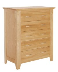 Cambridge Oak 5 Drawer Chest