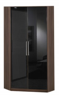 Gamma Walnut Wardrobe Corner 2 Door Walnut/Black
