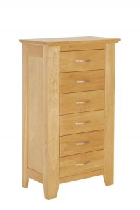 Cambridge Oak 6 Drawer Chest - Tall