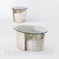Sorento Rough And Smooth Stone Round Lamp Table