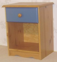 Verona Blue Pine Bedside 1 Drawer