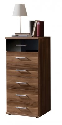 Gamma Walnut Chest 6 Drawer Walnut/Black