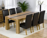 Milan Oak Walnut Dining Table plus 6 Leather Chairs