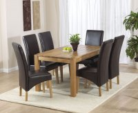 Vermont Dining Table 150cm with 6 Leather Dining Chairs