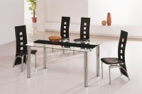 Tampa Glass Black Dining Table - Plus 6 x RD-501 Chairs