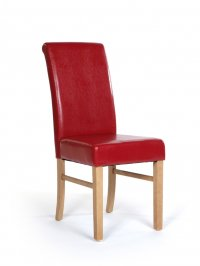 Hamilton Hardwood Upholstered Roll Back Chair (pair) Red Faux Le