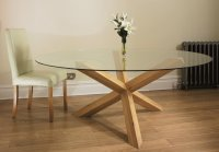 Shaker Oak Dining Table Round Glass 6ft