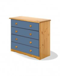 Verona Blue Pine Chest 4 Drawer