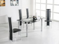 Riviera Glass Large Dining Table - Black - Plus 4 x RD-501 Chair