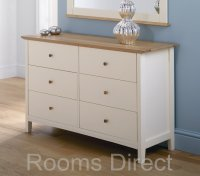 Alaska Painted Oak Chest Of Drawers 6 Drawer