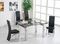 Madrid Glass Extending Dining Table - Black - Plus 6 x RD-501 Ch