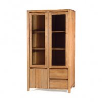 Reclaimed Teak - Glass Cabinet 3 Door 2 Drawer