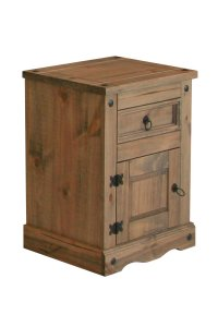 Corona Mexican Pine 1 Door 1 Drawer Bedside Cabinet