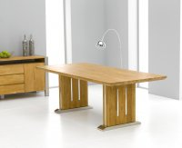 Gibraltar Oak And Stainless Dining Table 225cm (Table Only)
