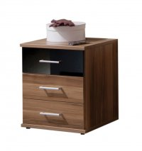 Gamma Walnut Chest 3 Drawer Walnut/Black