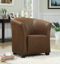 Seattle Tub Chair - Brown Rub Through Leather - Single