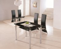 Riviera Glass Small Dining Table - Black - Plus 4 x RD-501 Chair
