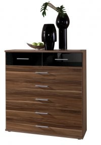 Gamma Walnut Chest 5+2 Drawer Walnut/Black