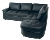 Lina Leather Corner Sofabed Black+ Storage Left Hand Foot Stool