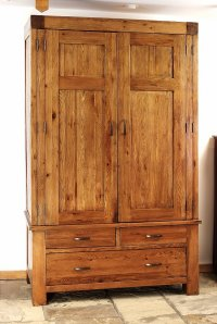 Santana Reclaimed Oak Double Wardrobe With Drawers