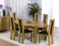 Hawarden Oval Dining Table wth 6 Oak and Leather Chairs w/infil