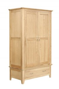 Cambridge Oak Wardrobe Double with Drawer