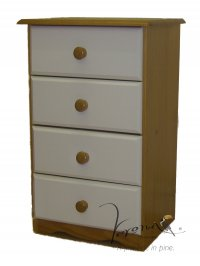 Verona White Pine Bedside 4 Drawer
