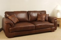 Isabella Leather Sofa - 3 Seater - Brown Analine Leather