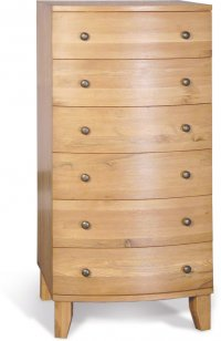 Stretton Natural Oak 6 Drawer Wellington Tall Boy