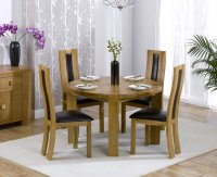 Hawarden Round Dining Table with 4 Oak and Leather Infill