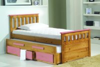 Bergamo 3ft Guest Bed W/Storage - Pink Detail