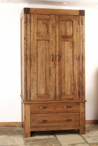 Santana Reclaimed Oak Single Wardrobe With Drawers