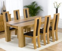 Milan Oak Walnut Dining Table and 6 Oak Leather Infill Chairs