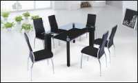 Boston Glass Black Dining Table (Table Only)