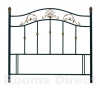 Angelica 135cm (Double) Black / Antique Gold Accents Headboard