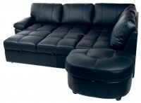 Lina Leather Corner Sofabed Black+ Storage Right Hand Foot Stool